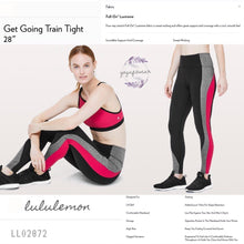 "Lululemon - Get Going Train Tight *28"" (USA) (Black/ Heathered Black/Flamenco Red) (LL02872)"