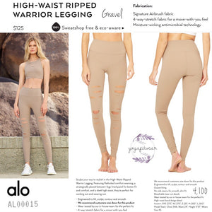 alo : High-Waist Ripped Legging Warrior (Gravel) (AL00015)