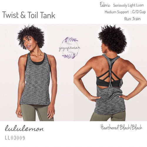Lululemon - Twist&Toil Tank (Heathered Black /Black) (LL03009)