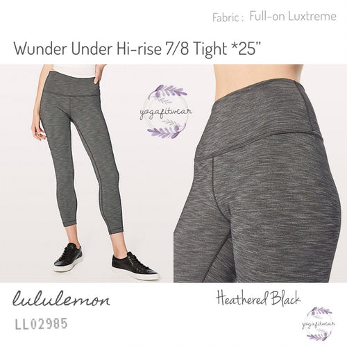 "Lululemon - Wunder Under Hi-Rise 7/8 Tight*25"" (Heathered Black) (LL02985)"
