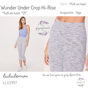 "Lululemon - Wunder Under Crop Hi-rise *full-on luon 21"" (We are from space ice grey alpine white) (LL02997)"