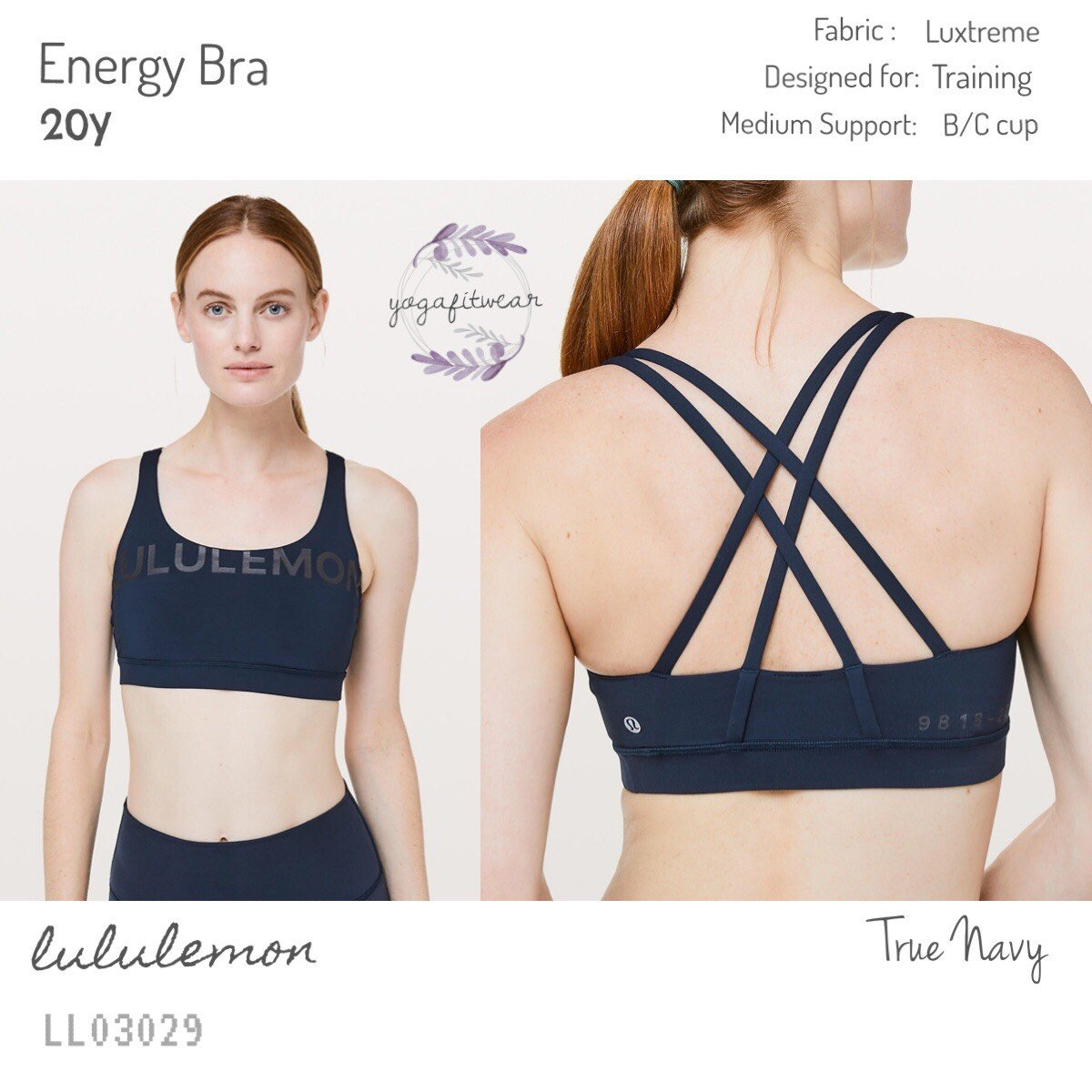 Lululemon - Energy Bra *20Y (True Navy) (LL03029)