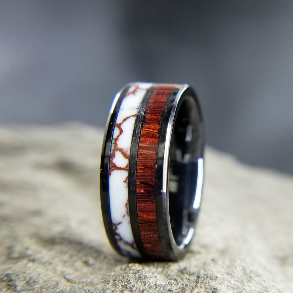 BLACK CERAMIC WEDDING RING / ROSEWOOD RING / WILD HORSE JASPER RING