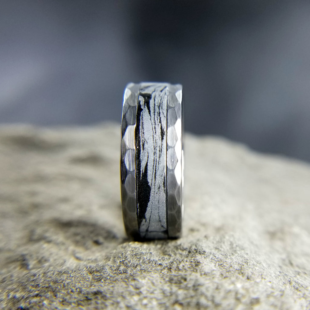 HAMMERED TUNGSTEN WEDDING RING WITH BLACK & SILVER MOKUME GANE INLAY