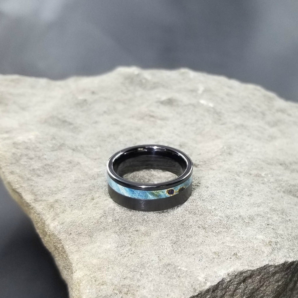 BLACK CERAMIC WEDDING RING / BLUE BUCKEYE BURL RING / CERAMIC WOOD WEDDING BAND