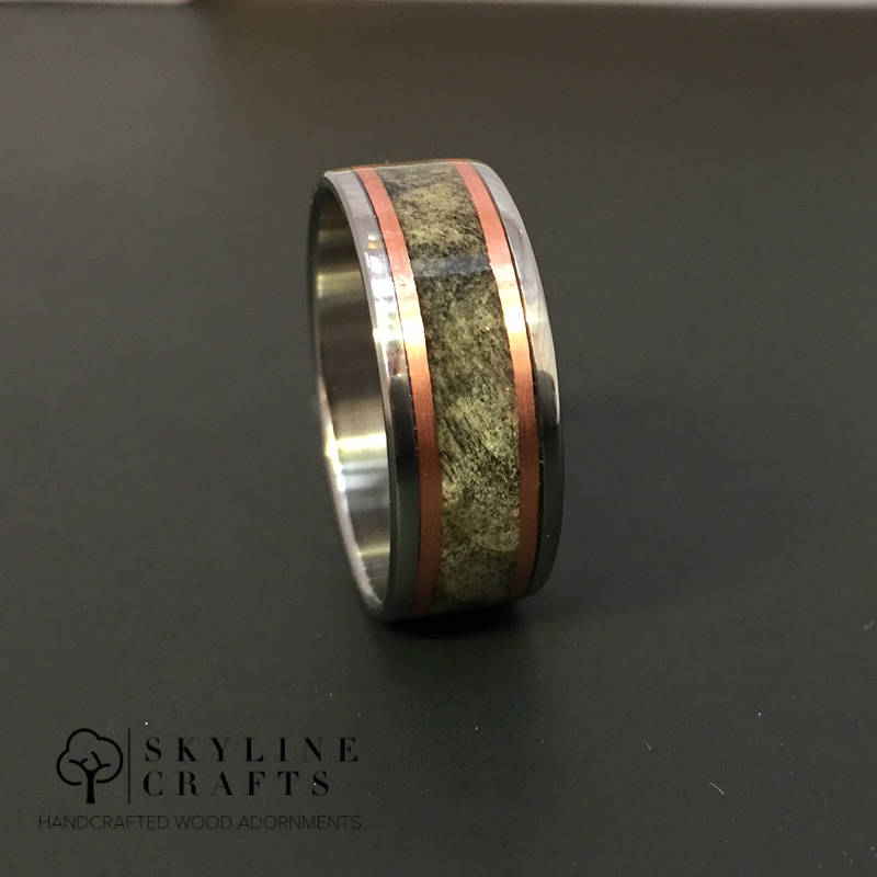 Wood Wedding Ring. Titanium Wood Ring. Titanium Buckeye Burl Copper Inlay Ring. Wood Wedding Band. Unique Wood Ring
