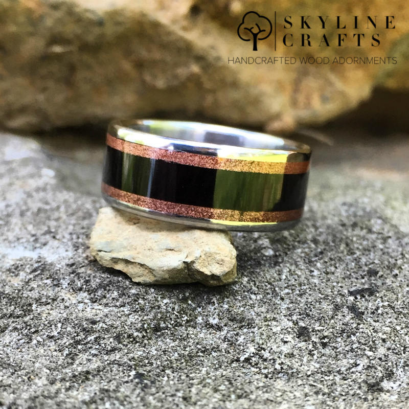 Mens Wood Wedding Ring, Custom Wedding Band, Titanium Ring, Ebony Ring, Copper Ring, Unique Engagement Ring, Mens Ring, Wood Ring, MTO