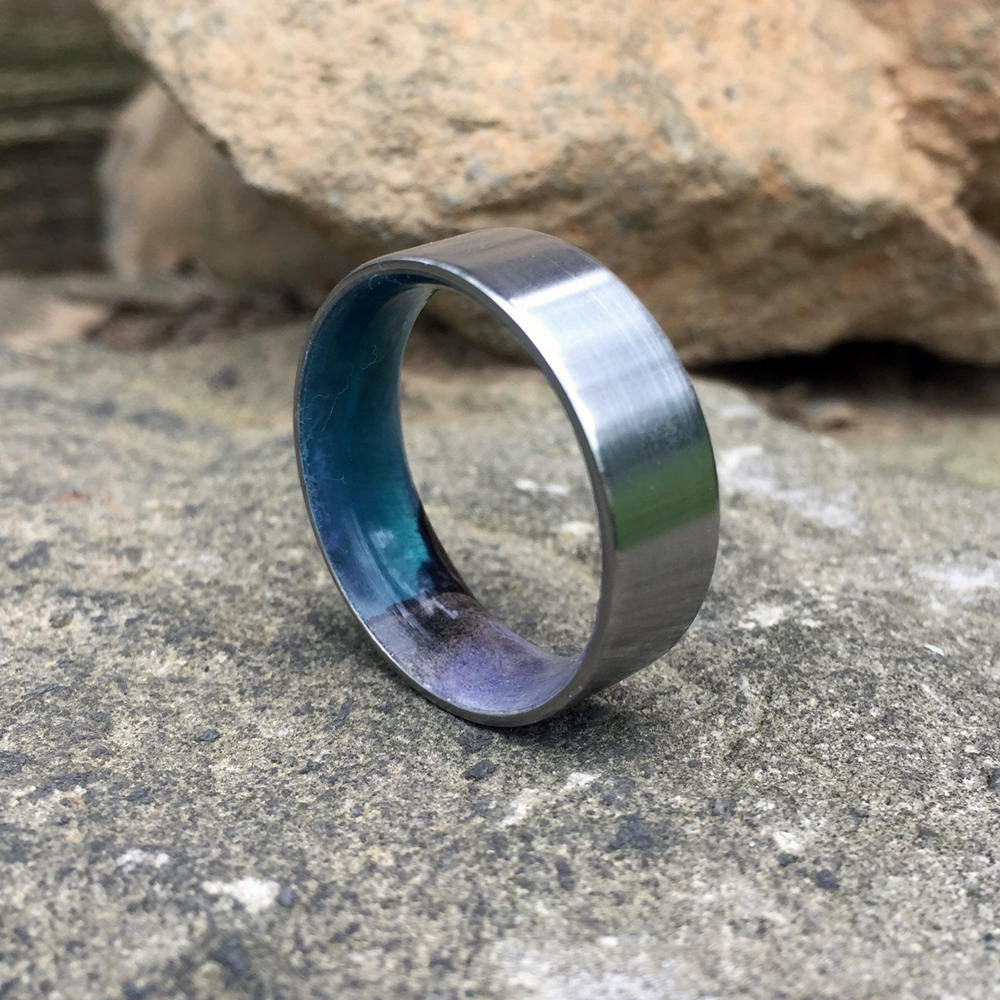 Titanium & Buckeye Burl Ring. Wood and Titanium Ring. Resin Wood Ring. Wood Wedding Ring. Titanium Wedding Band. Satin Titanium Ring.