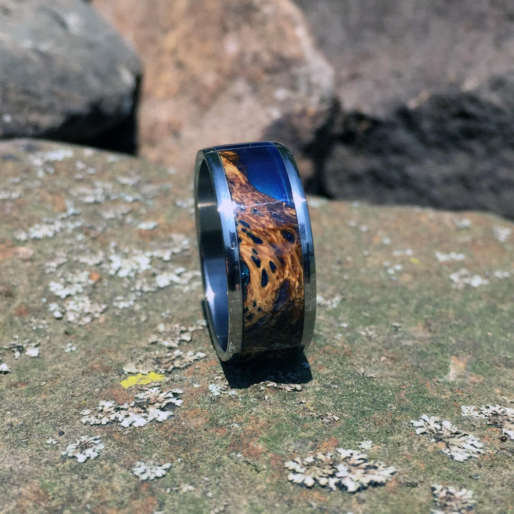 Cholla Cactus Wood Ring. Handcrafted Cholla Cactus Resin Cast Hybrid Wood Ring. Wood Wedding or Anniversary Band