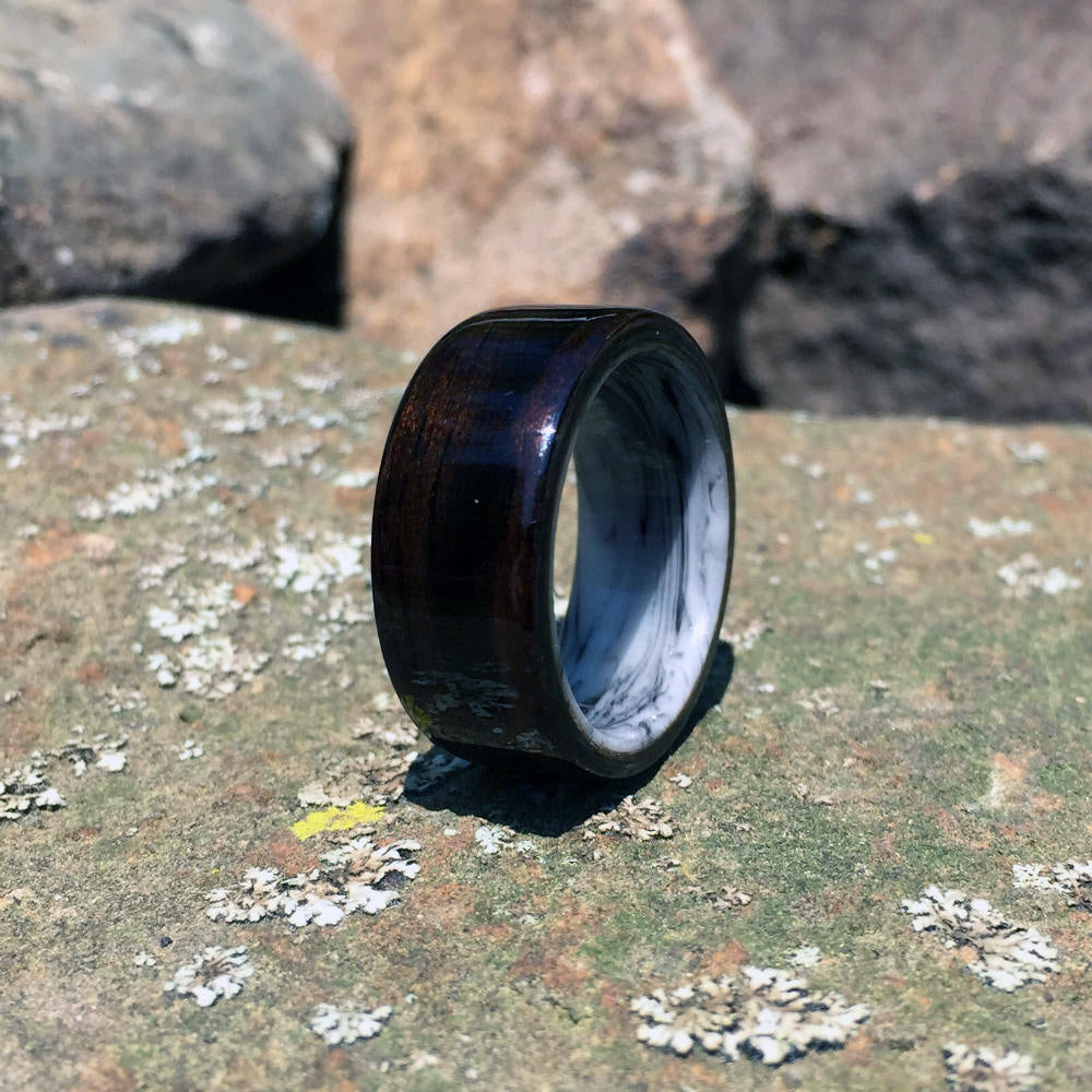 Ebony Bentwood Ring. Ebony Ring with Black & White Resin Core. Handcrafted Wood Ring. Wood and Resin Ring.
