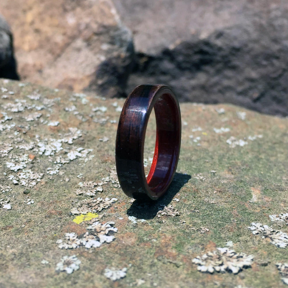 Ebony Bentwood Ring with Padauk Interior. Handcrafted Bent Wood Ring. Handmade Ebony Wood Ring
