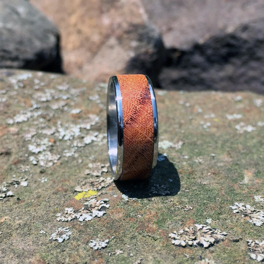 Wood Wedding Band. Honey Locust Wood Ring. Handcrafted Titanium Wood Wedding Ring