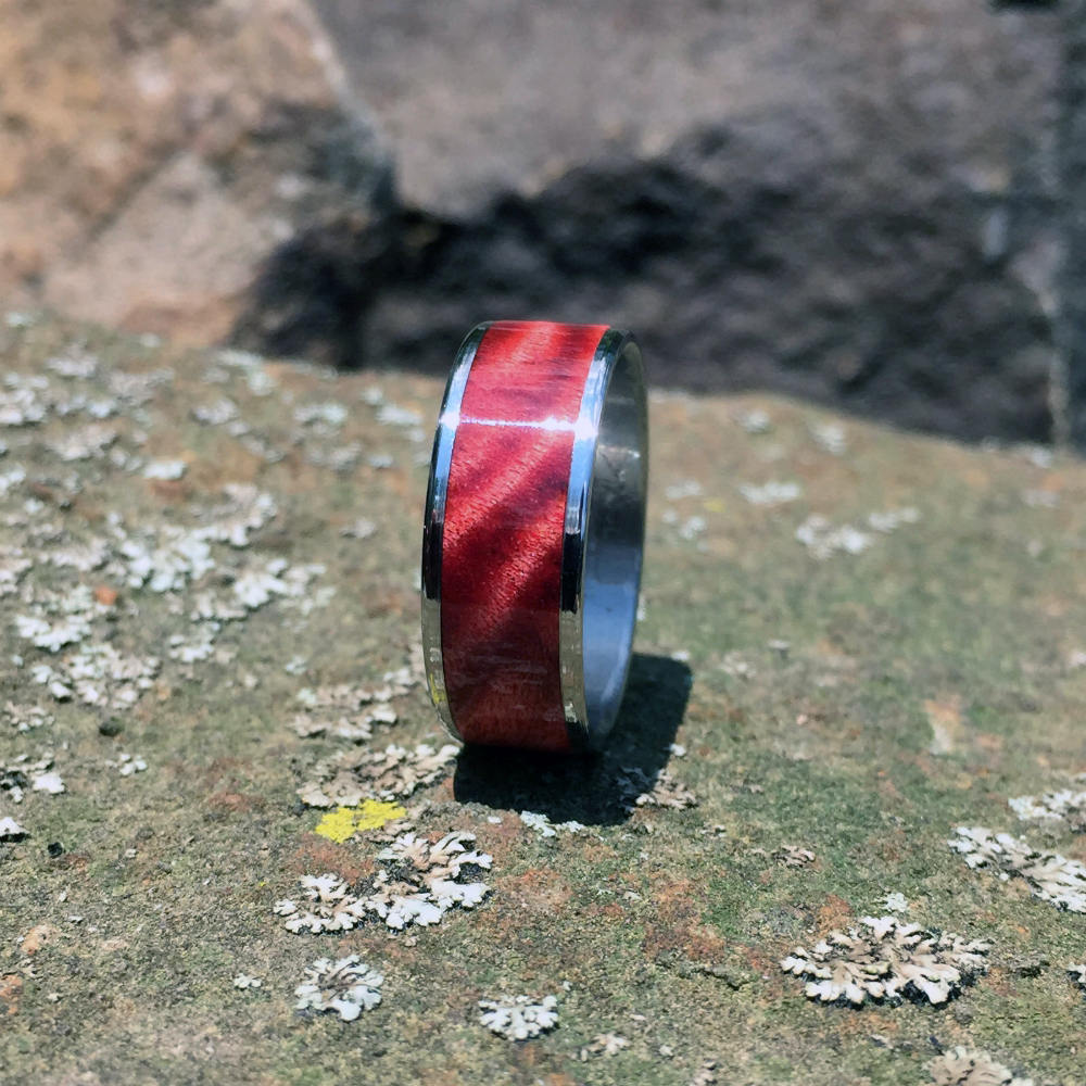 Red Big Leaf Maple Wood Ring. Handcrafted Wooden Ring on Titanium
