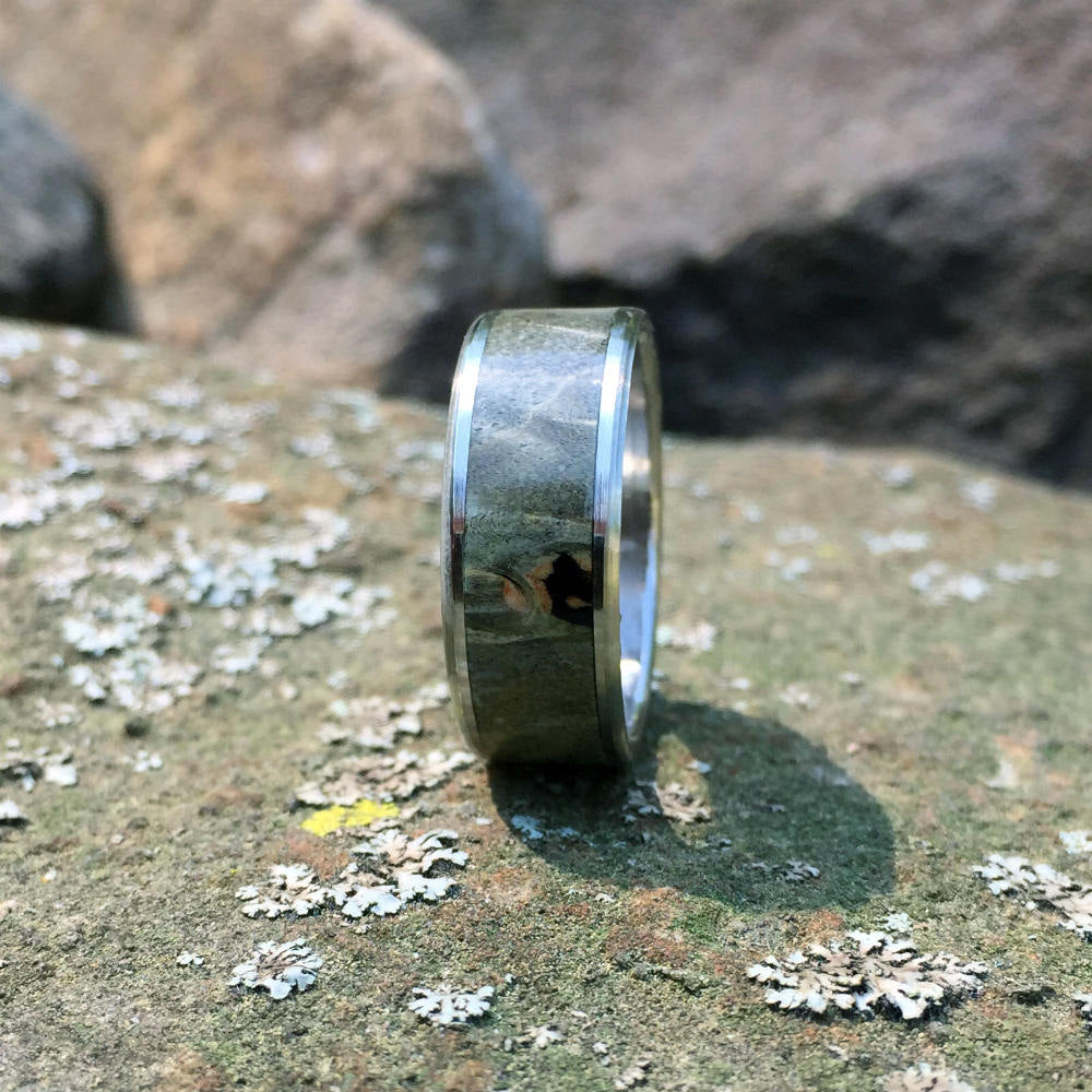 Titanium Wood Wedding Band. Green Buckeye Burl Wood Ring. Handcrafted Wood Ring on Titanium