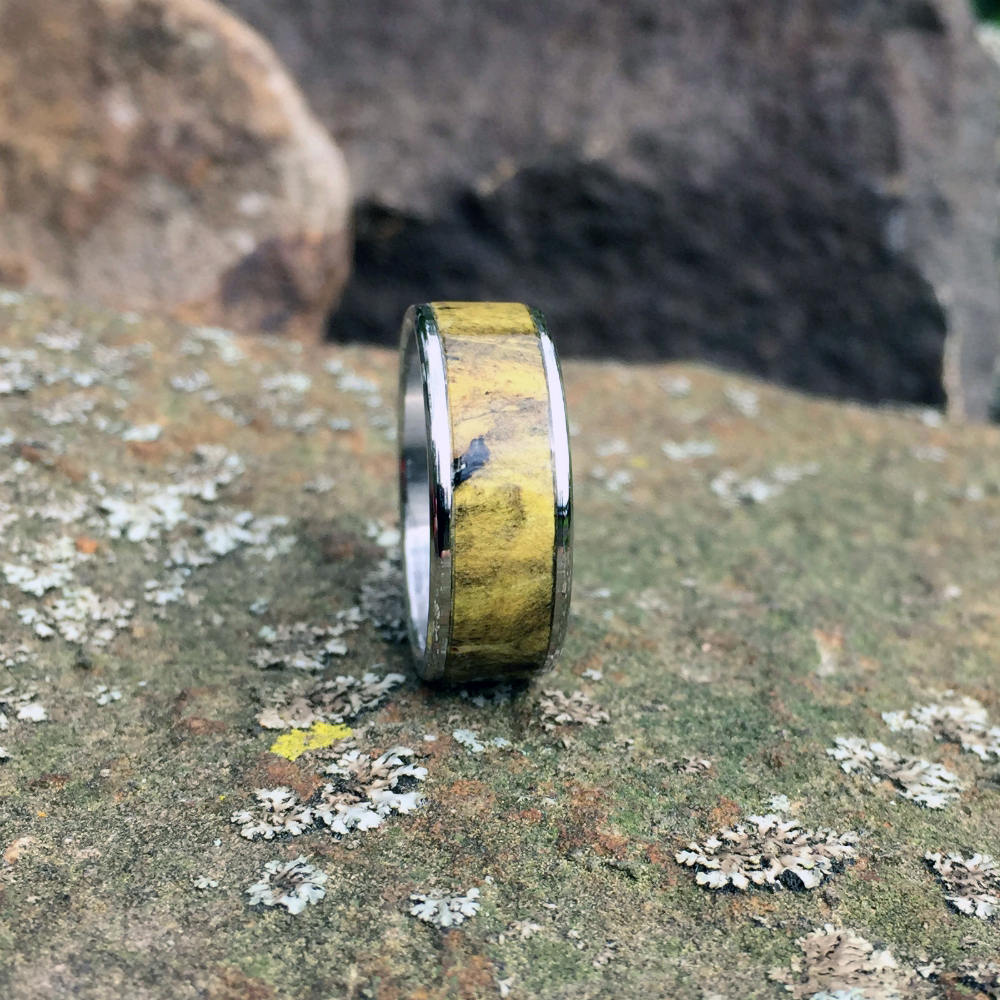 Yellow Curly Big Leaf Maple Wood Ring on Titanium. Wood Wedding Anniversary Band Ring
