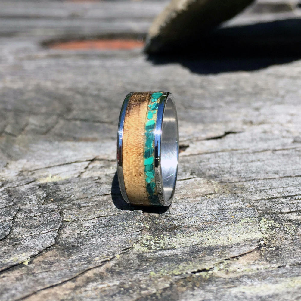 Myrtle Wood Ring on Titanium. Myrtle and Green Malachite Wood Ring. Wood Wedding Anniversary Band Ring