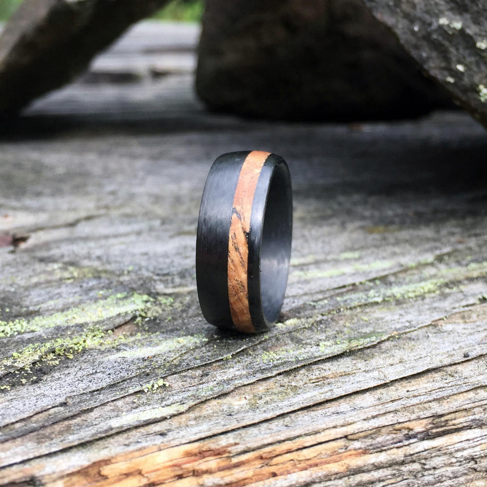 Carbon Fiber Ring, Wood Ring, Wood Inlay Ring, Carbon Fiber Wood Ring, Wedding Ring, Wood Wedding Band, Mens Ring, Black Ash Burl Wood Ring