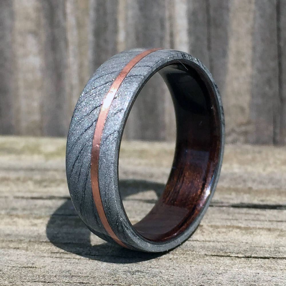 Wood Wedding Ring, Mokume Gane Ring, Bentwood Ring, Copper Inlay, Composite Ring, Wedding Ring, Wood Wedding Band, Engagement Ring