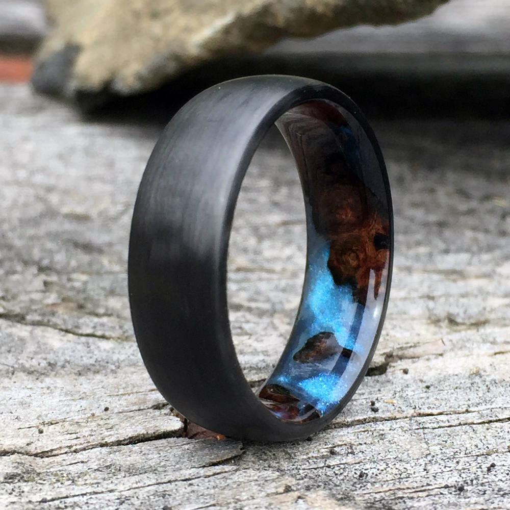 Carbon Fiber Ring, Wood Ring, Wood Inlay Ring, Engagement Ring, Wedding Ring, Wood Wedding Band, Mens Ring, Womens Ring, Amboyna Burl Ring