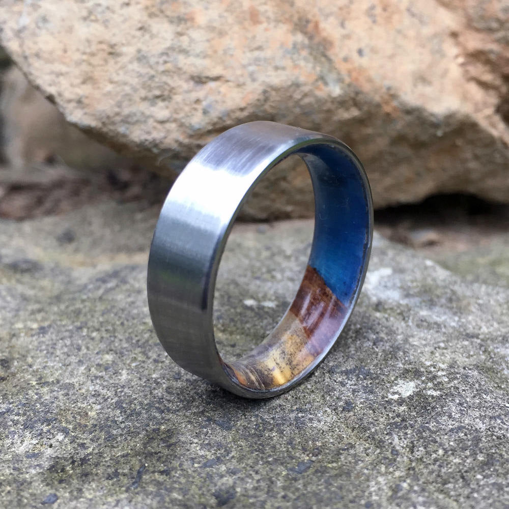 Titanium Ring. Wood Wedding Band. Buckeye Burl & Titanium Ring. Resin Wood Ring. Wedding Ring. Titanium Wedding Band. Satin Titanium Ring.
