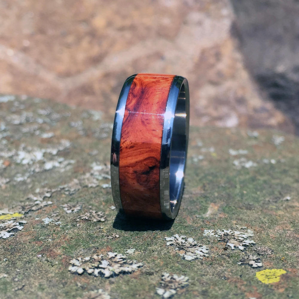 Wood Wedding Ring. Titanium and Wood Ring. Red Amboyna Burl Ring. Handcrafted Amboyna Wood Wedding Band