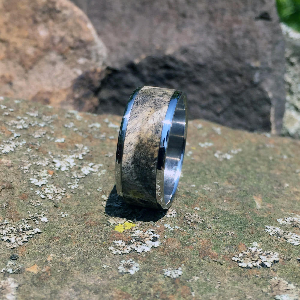 Buckeye Burl Wood Ring. Handcrafted Titanium Wood Ring. Wood Wedding Ring. Wood Wedding Band