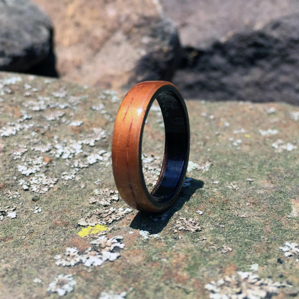 Koa Bentwood Ring with Ebony Interior. Handmade Wood Ring. Handcrafted Koa Wood Ring.