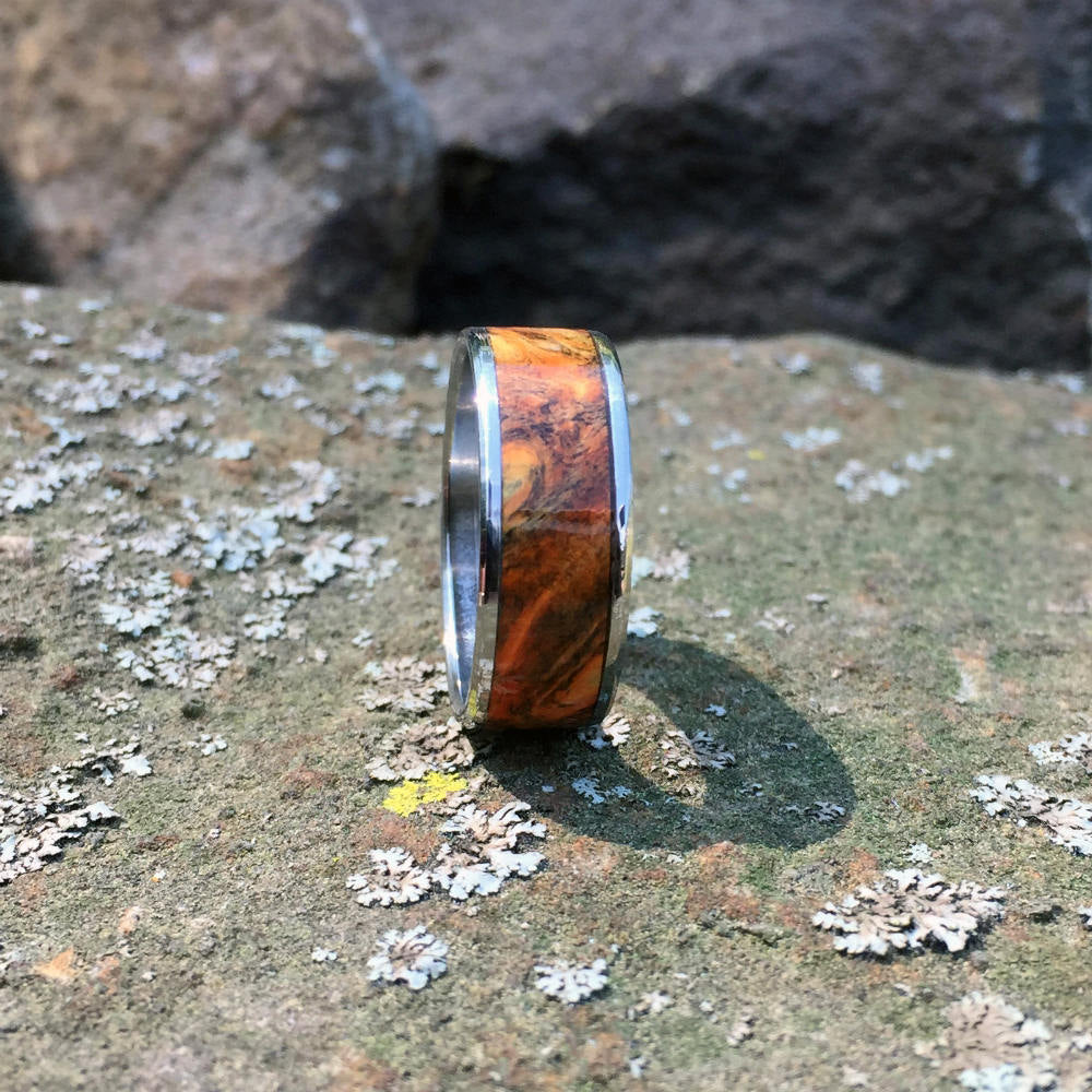 Triple Dyed Buckeye Burl Wood Ring. Handcrafted Titanium Wood Wedding Ring.