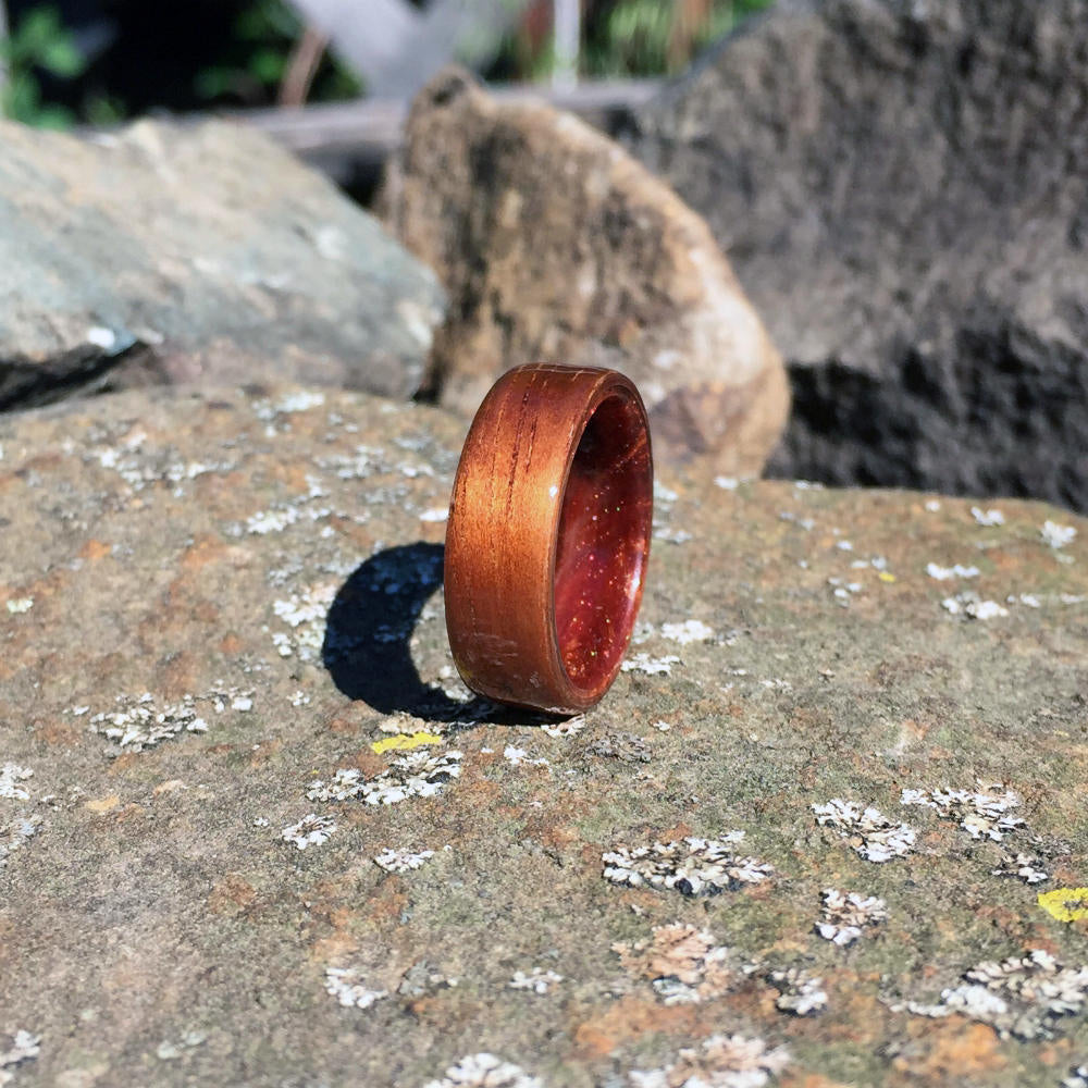 Koa Bentwood Ring with Resin Interior. Koa and Copper Resin. Hawaiian Koa Wood Ring