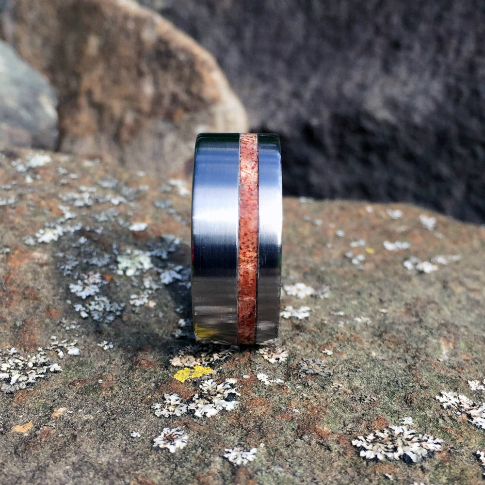 Wood Wedding Band, Titanium Ring, Koa Wood Ring, Koa Wedding Ring, Wood Wedding Ring. Mens Ring, Titanium Wedding Ring, Koa Ring