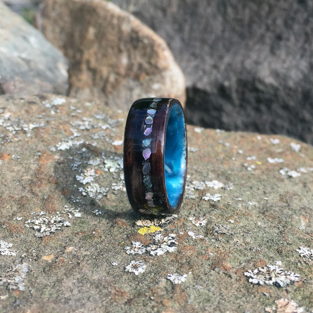 Wood Ring, Wood Inlay Ring, Ebony Ring, Bentwood Ring, Resin Ring, Mens Ring, Womens Ring, Blue Ring, Abalone Shell Inlay, Pearl