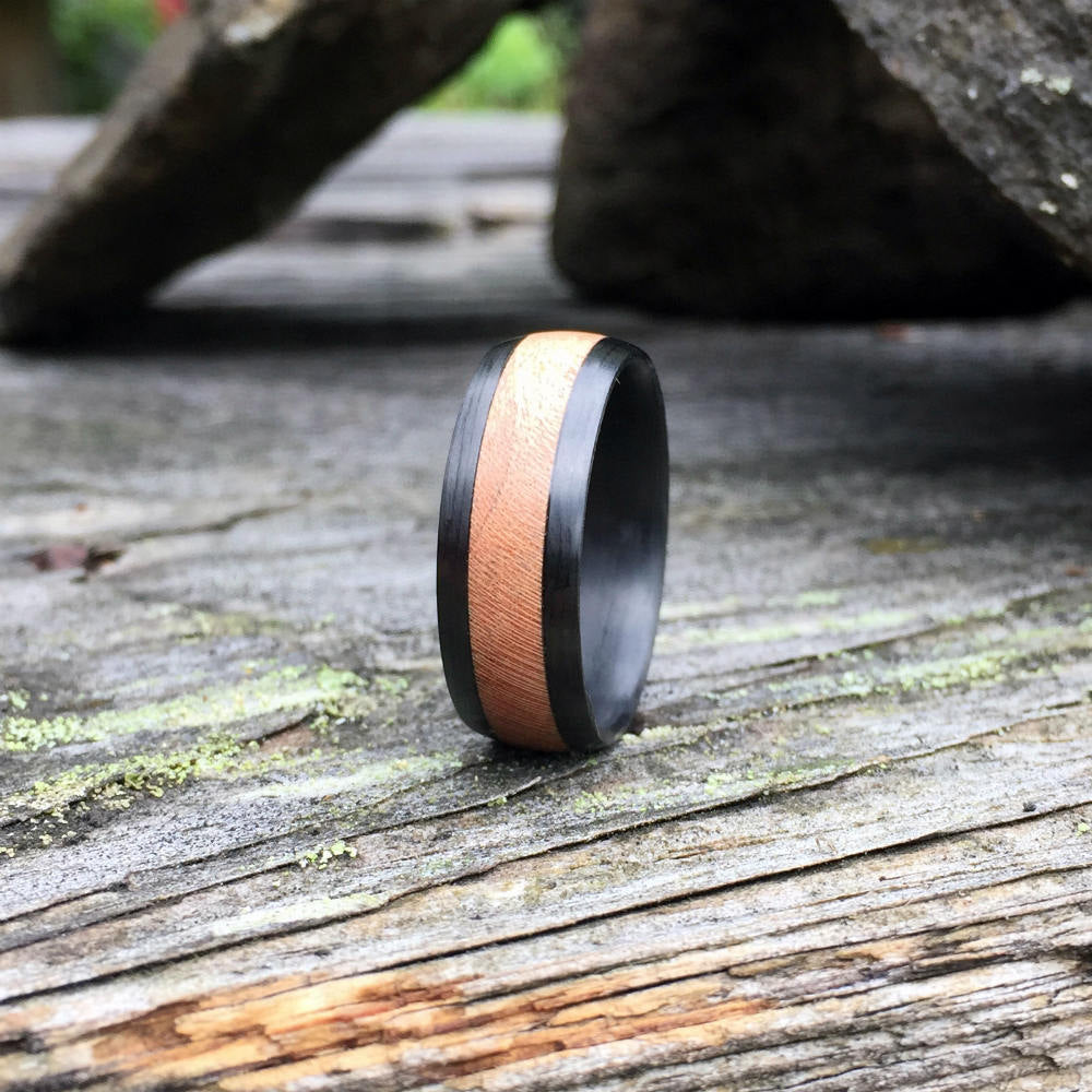 Carbon Fiber Ring, Wood Ring, Wood Inlay Ring, Carbon Fiber Wood Ring, Wedding Ring, Wood Wedding Band, Mens Ring, Cherry Wood Ring