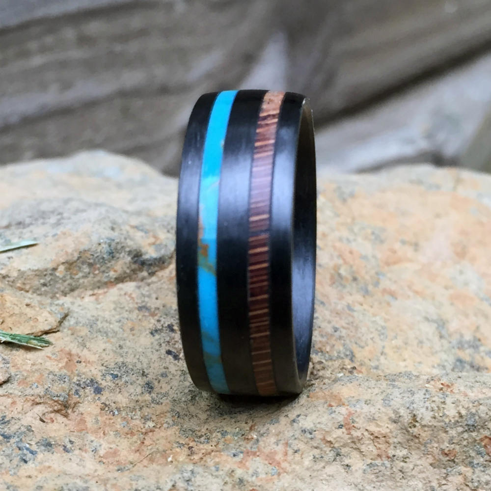 Carbon Fiber Ring, Wood Ring, Wood Inlay Ring, Engagement Ring, Wedding Ring, Turquoise Ring, Oak Ring, Mens Ring, Womens Ring, Wood Wedding