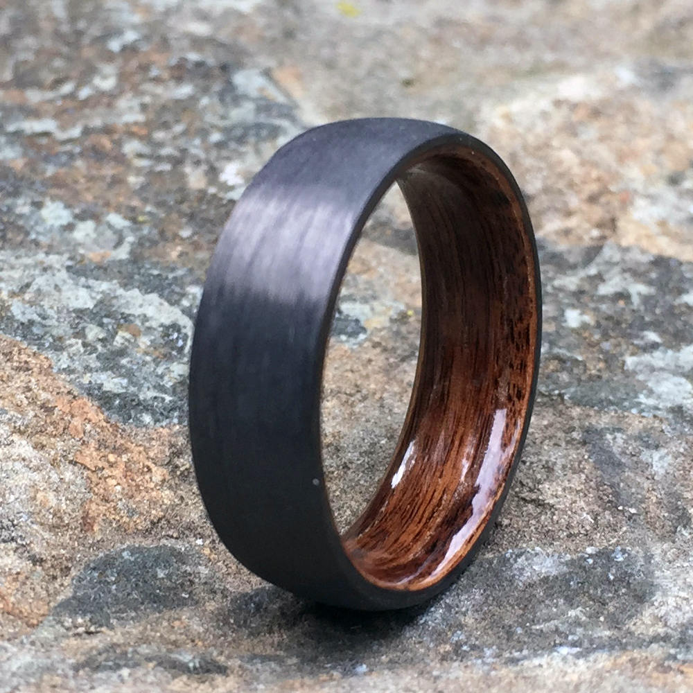 Carbon Fiber Ring, Wood Ring, Wood Inlay Ring, Engagement Ring, Wedding Ring, Wood Wedding Band, Mens Ring, Bentwood Ring, Rosewood Ring