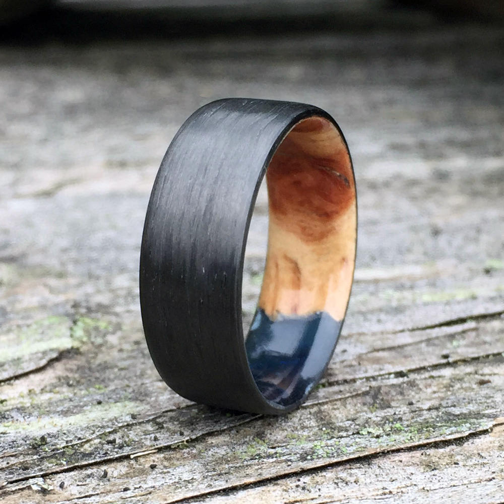 Carbon Fiber Ring, Wood Wedding Band, Resin Wood Ring, Wood Inlay Ring, Engagement Ring, Wooden Ring, Wedding Ring, Mens Ring, Womens Ring