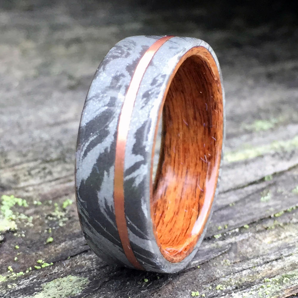 Wood Wedding Ring. White Mokume Gane Ring with Rosewood and Copper Inlay. Composite Mokuke Gane