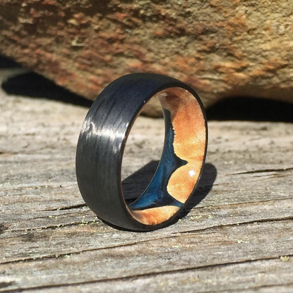 Carbon Fiber Ring, Wood Ring, Wood Inlay Ring, Engagement Ring, Wood Wedding Ring, Wood Wedding Band, Mens Ring, Womens Ring, Maple Ring