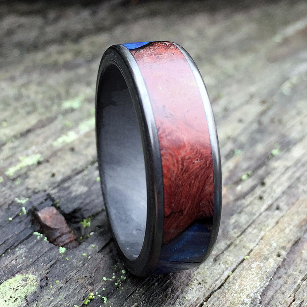 Carbon Fiber Ring, Wood Ring, Wood Inlay Ring, Engagement Ring, Wedding Ring, Wood Wedding Band, Mens Ring, Amboyna Burl Ring