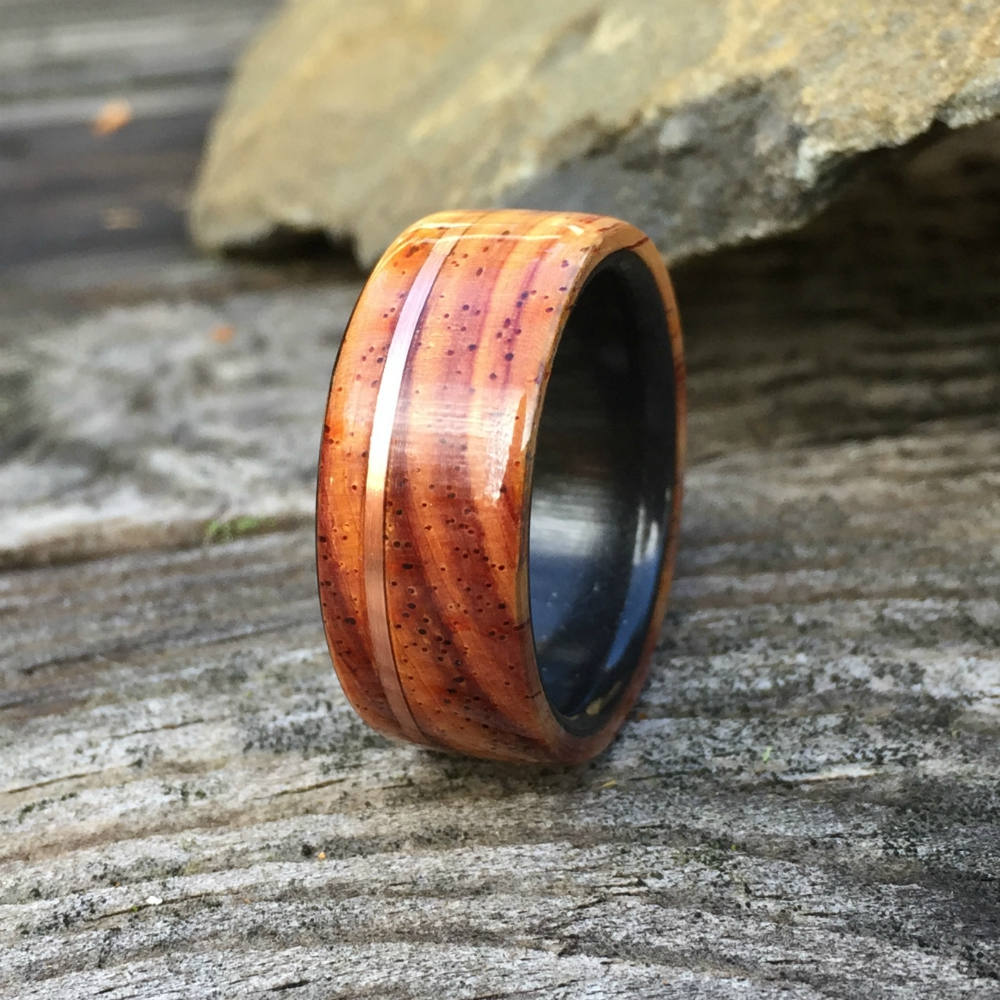 Wood Wedding Ring, Wood Ring, Wood Inlay Ring, Engagement Ring, Cocobolo Wood Ring, Wood Wedding Band, Mens Ring, Womens Ring, Copper Inlay