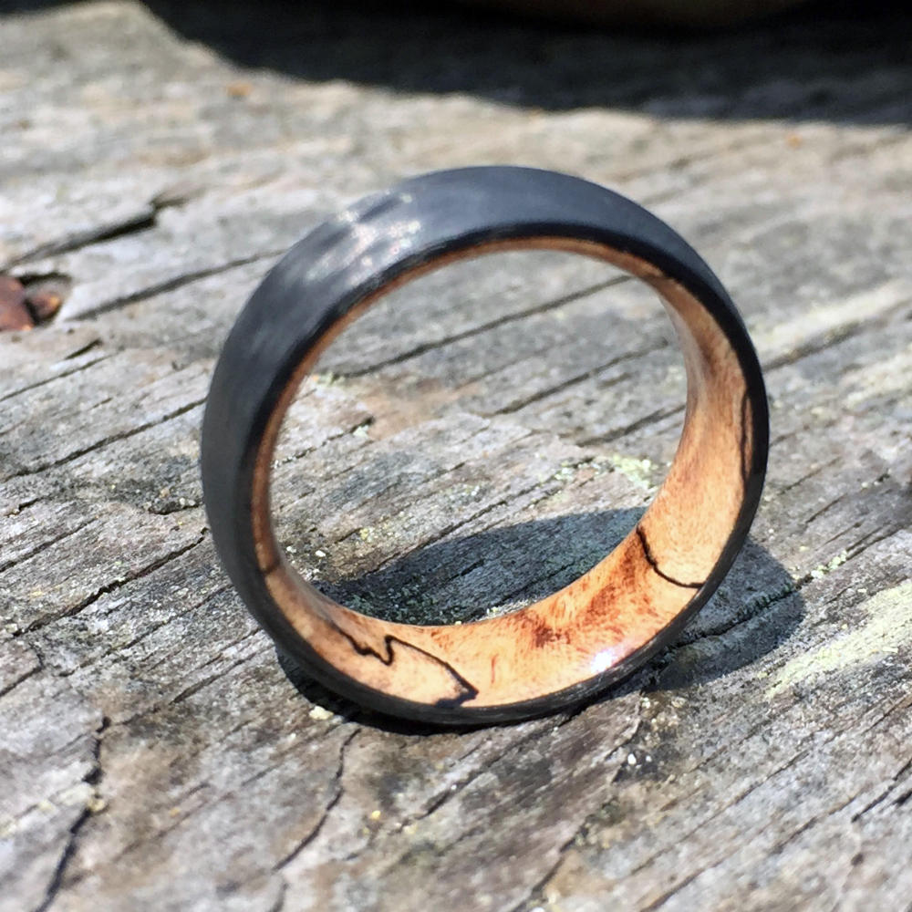 Carbon Fiber Ring, Wood Ring, Wood Inlay Ring, Engagement Ring, Wedding Ring, Wood Wedding Band, Mens Ring, Womens Ring, Maple Ring