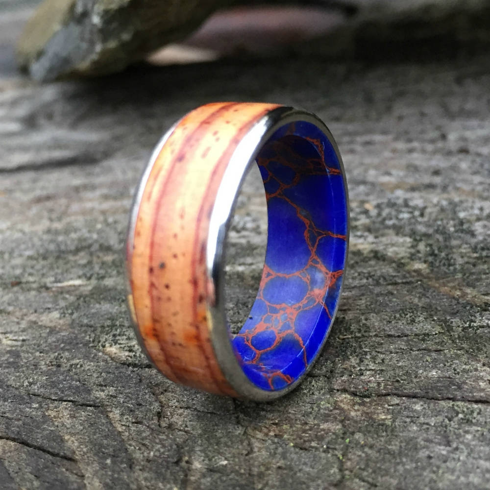 Titanium Ring, Wood Ring, Stone Ring, Steel Ring, Inlay Ring, Engagement Ring, Wedding Ring, Wood Wedding Band, Mens Ring, Cocobolo Ring