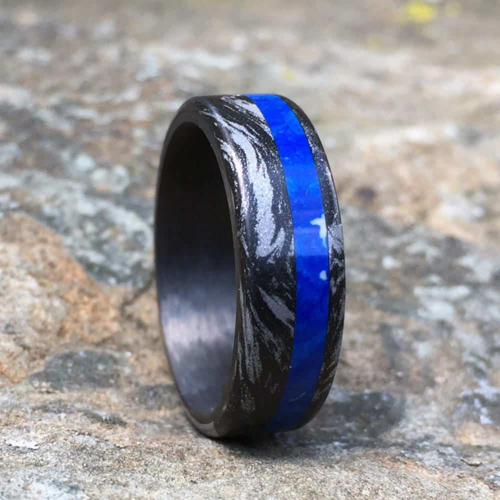 MOKUME GANE WEDDING RING WITH CHILEAN LAPIS INLAY & CARBON FIBER INTERIOR