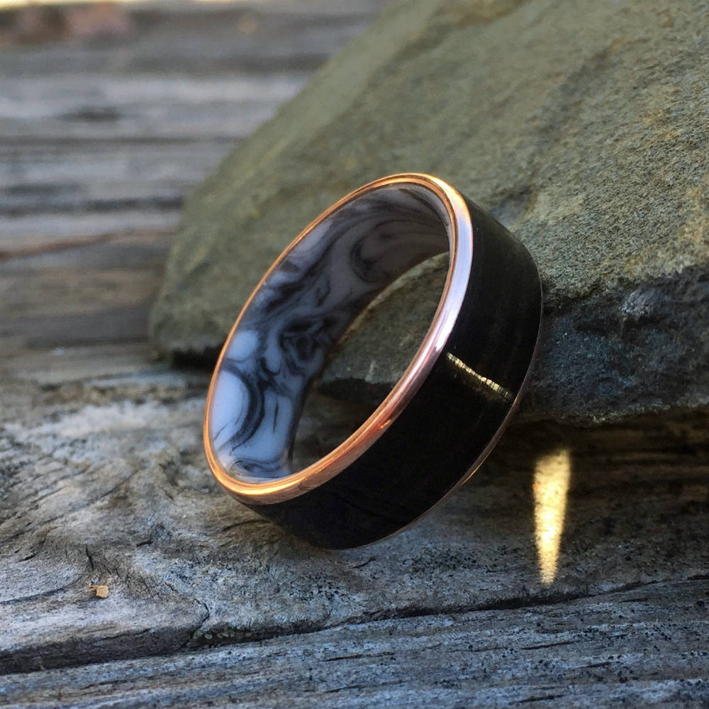 Bentwood Ring, Resin Ring, Copper Ring, Inlay Ring, Engagement Ring, Wedding Ring, Wood Wedding Band, Mens Ring, Macassar Ebony Ring