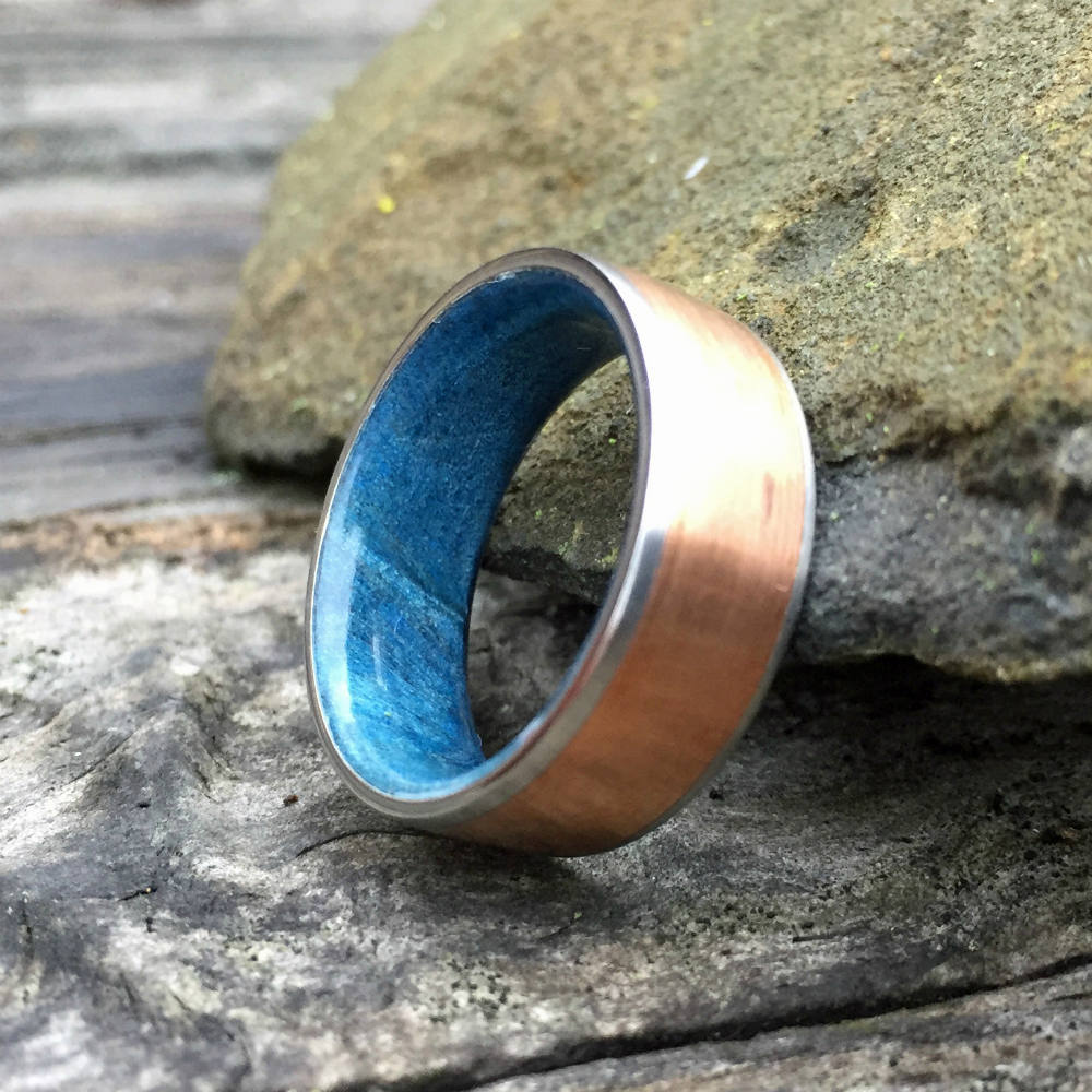 Titanium Ring, Wood Ring, Copper Ring, Steel Ring, Inlay Ring, Engagement Ring, Wedding Ring, Wood Wedding Band, Mens Ring, Maple Ring