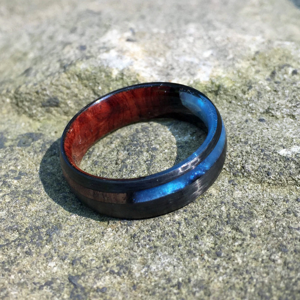 Carbon Fiber Ring, Wood Ring, Wood Inlay Ring, Engagement Ring, Wedding Ring, Wood Wedding Band, Mens Ring, Amboyna Burl Ring, Man Ring