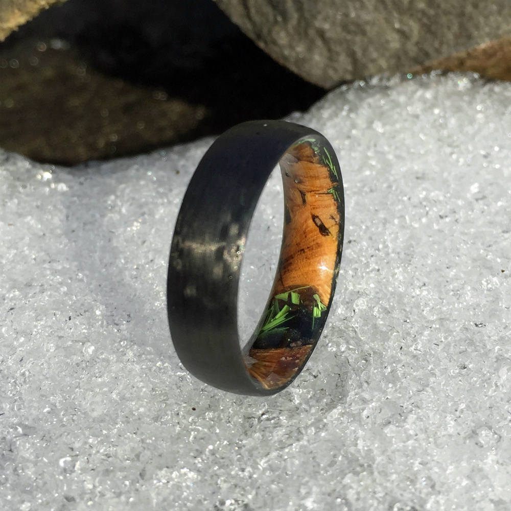 Carbon Fiber Ring, Wood Ring, Wood Inlay Ring, Engagement Ring, Wedding Ring, Wood Wedding Band, Mens Ring, Black Ring, Cholla Cactus Ring
