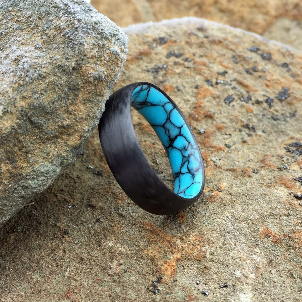 CARBON FIBER TURQUOISE WEDDING RING / TURQUOISE WEDDING BAND / CARBON FIBER RING