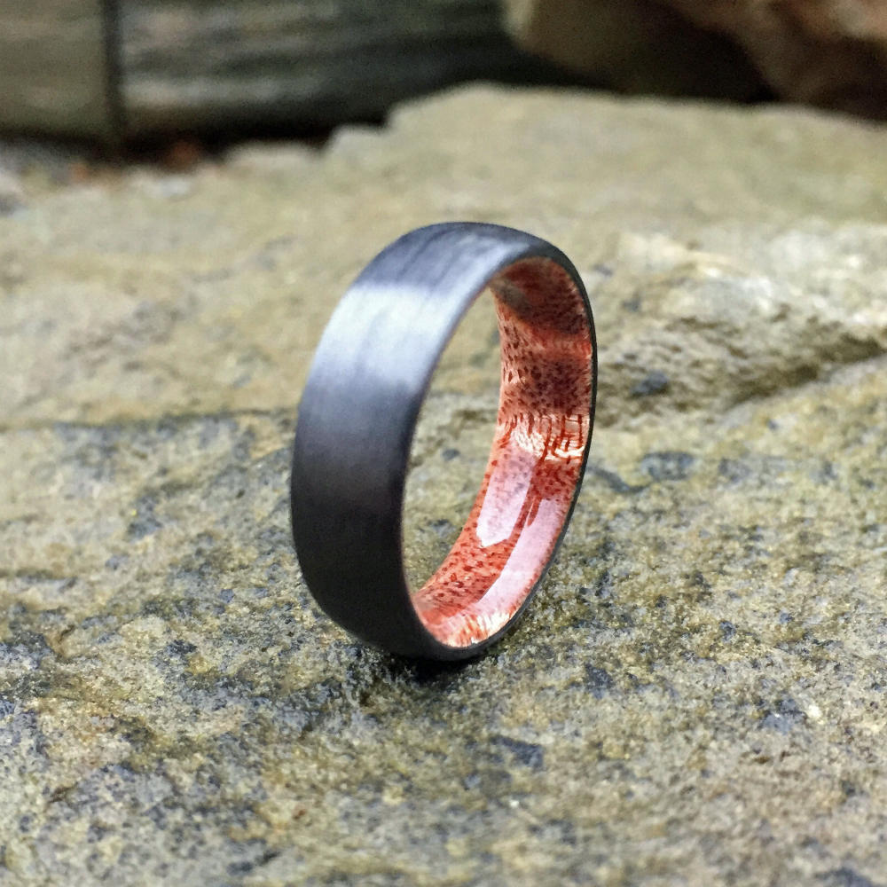 CARBON FIBER & HAWAIIAN KOA WEDDING RING