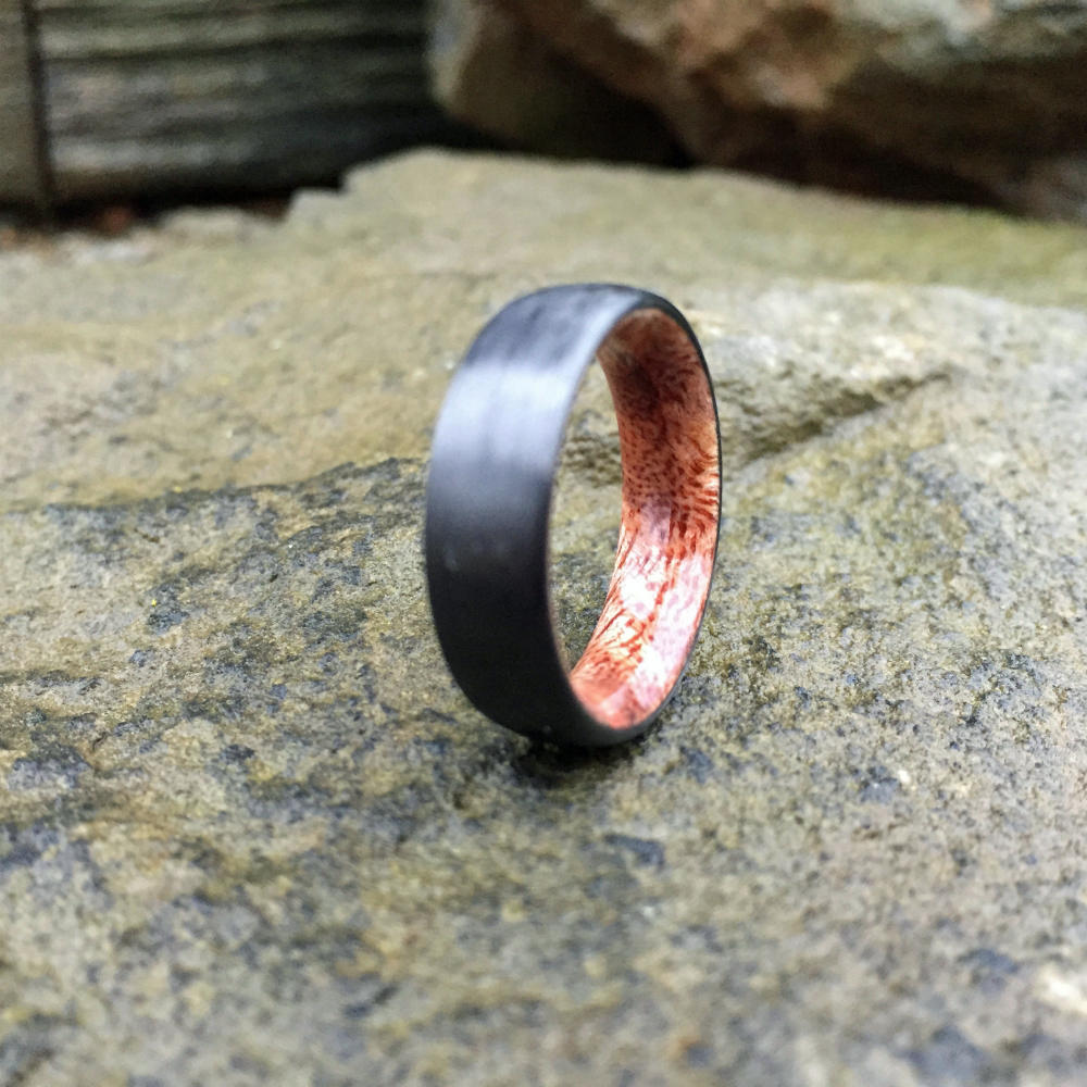 Carbon Fiber Ring, Koa Ring, Wood Inlay Ring, Engagement Ring, Wedding Ring, Wood Wedding Band, Mens Ring, Womens Ring, Wood Ring, Curly Koa