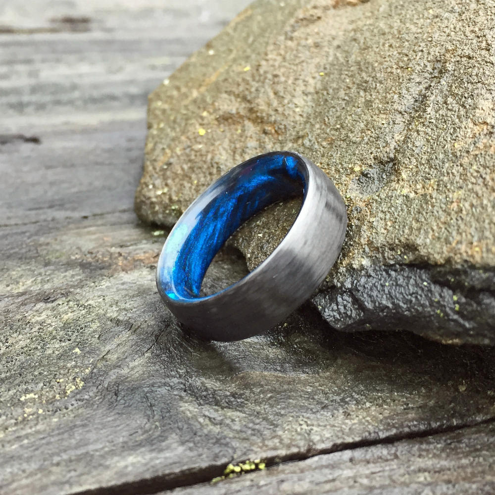 Carbon Fiber Ring, Inlay Ring, Resin Ring, Mens Wedding Band, Black and Blue Ring, Resin Ring, Carbon Wedding Ring, Mens Ring, Womens Ring